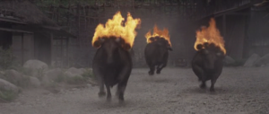 Traditional samurai weapon #441: flaming bulls.