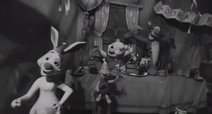 Creepiest cameo appearance by Winnie the Pooh and his friends in cinematic history.