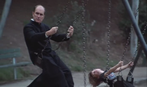 In a bizarre cameo with no lines, Robert Duvall shows up as a priest playing on a swing surrounded by kids. Because, you know, there's nothing creepy about that at all.