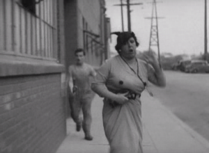 A woman, clearly in fear, being chased by a strange man. Fear of rape = comedy gold..? Not so much.