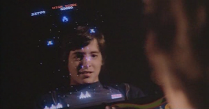 The WarGames movie tie-in version of the arcade game Galaga features Matthew Broderick's face staring out at the player in an effort to cause distraction.